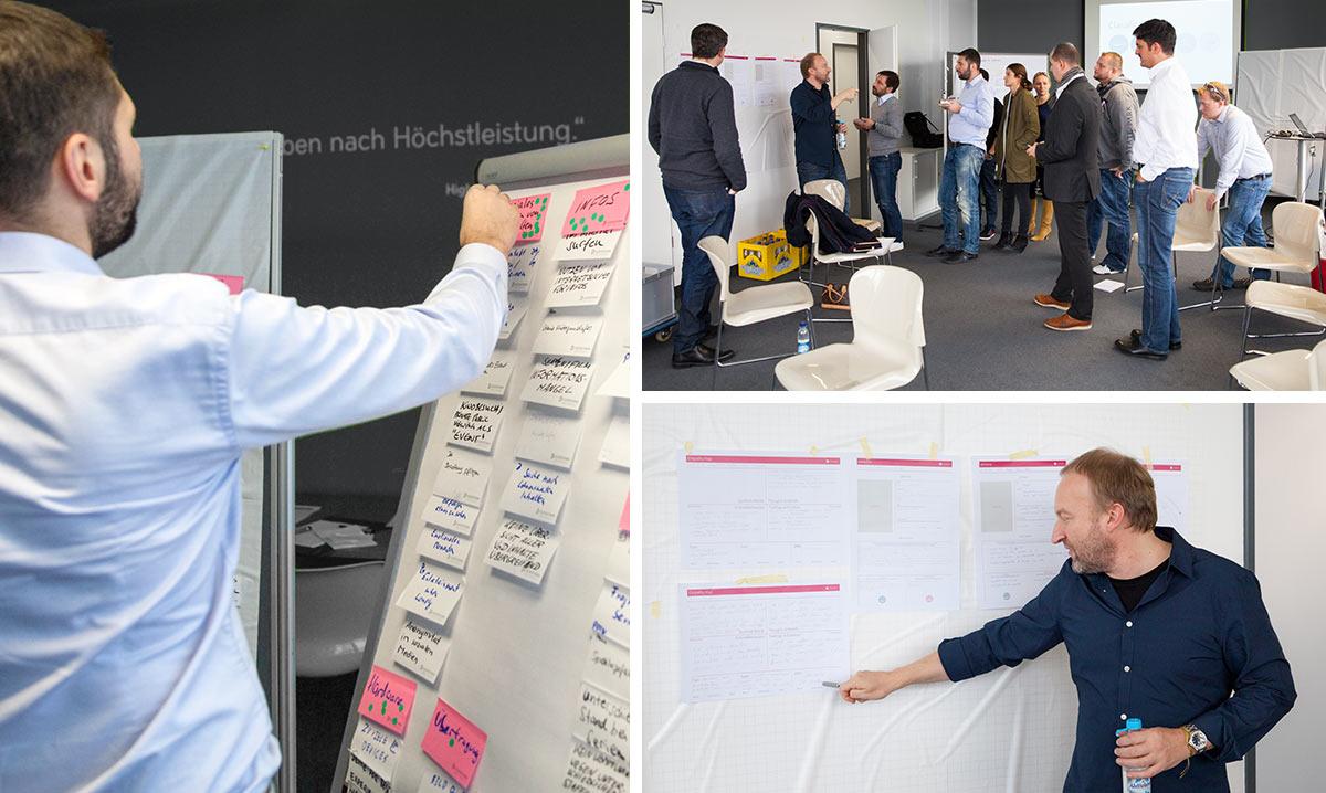Impressionen eines Design Thinking Workshop.